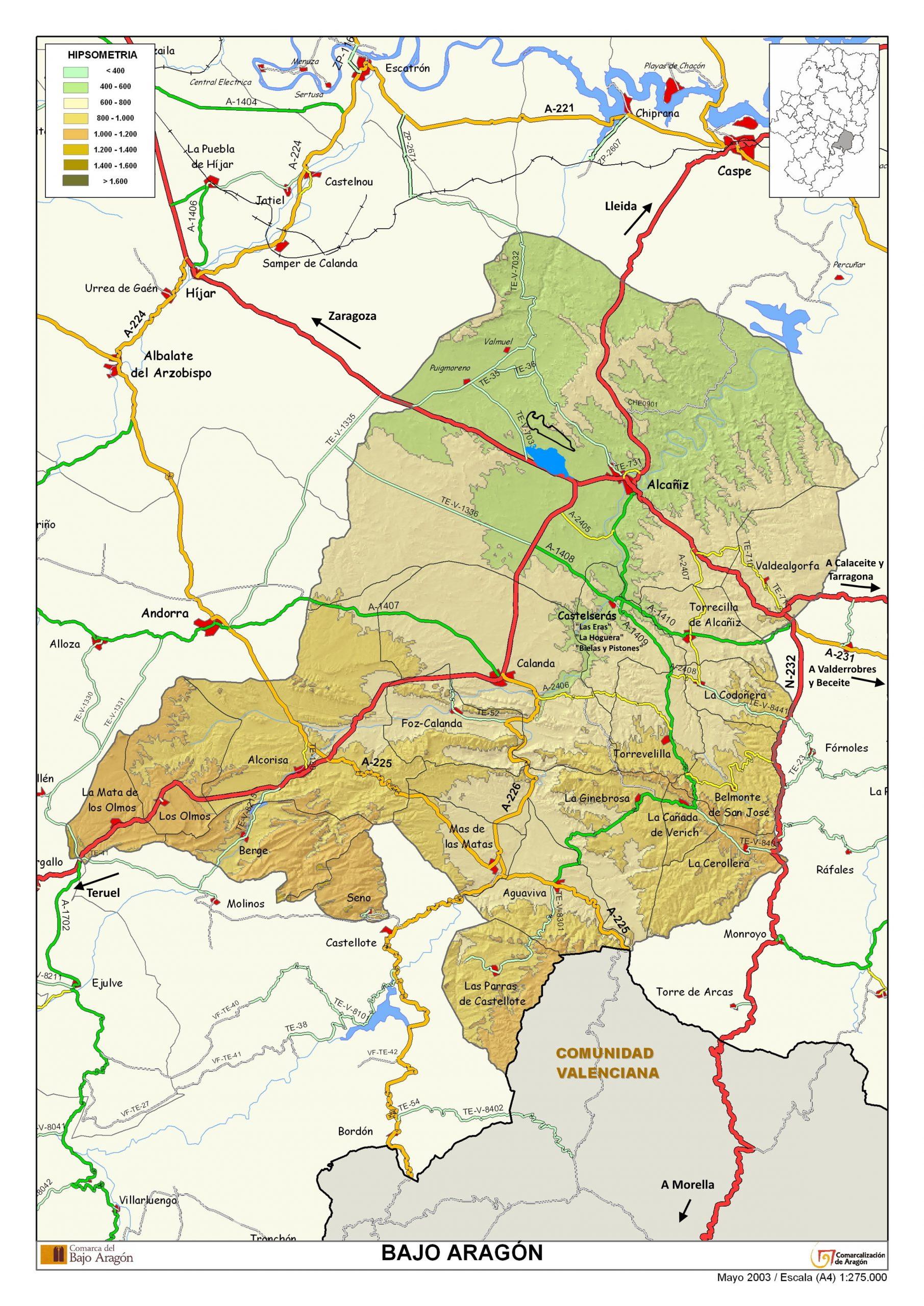 Mapa comarca del Bajo Aragón