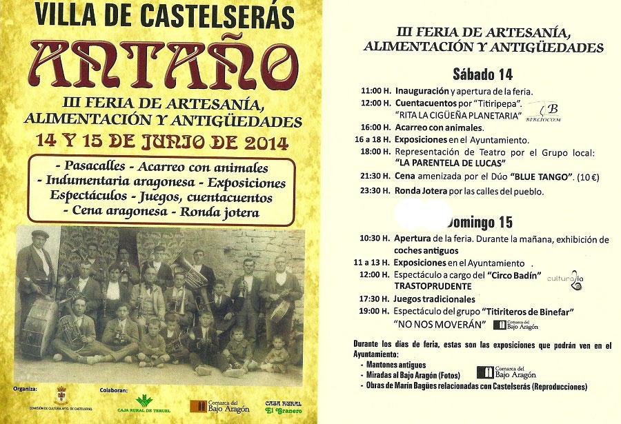 III Feria de artesanía, alimentación y antigüedades villa de Castelseras 2014